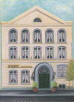 A painting of the yellow historical facade of the Klassik Altstadt Hotel